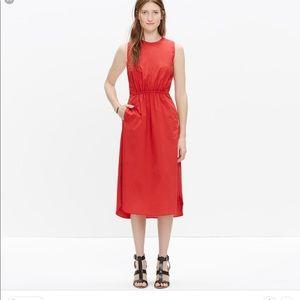 Madewell lakeshore midi dress red
